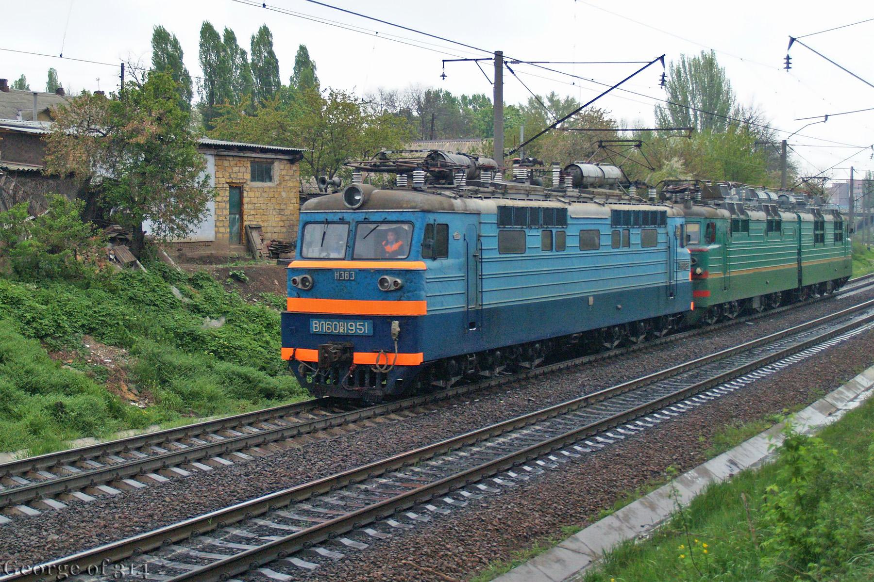 Електровози ВЛ60ПК-1951 та ВЛ80С-2347, перегін пост 1310 км - Одеса-Застава-ІІ