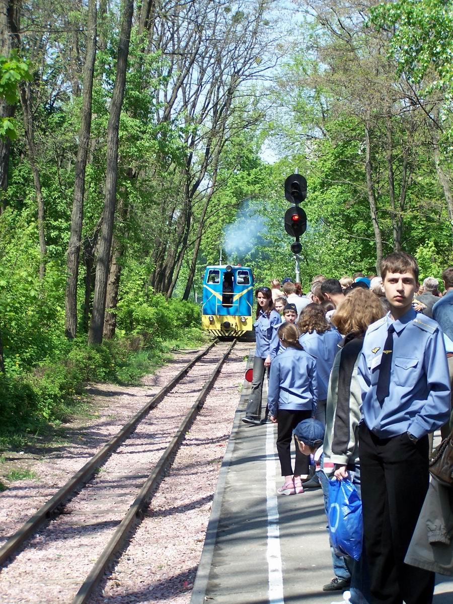 Прибуття поїзда на станцію Яблунька