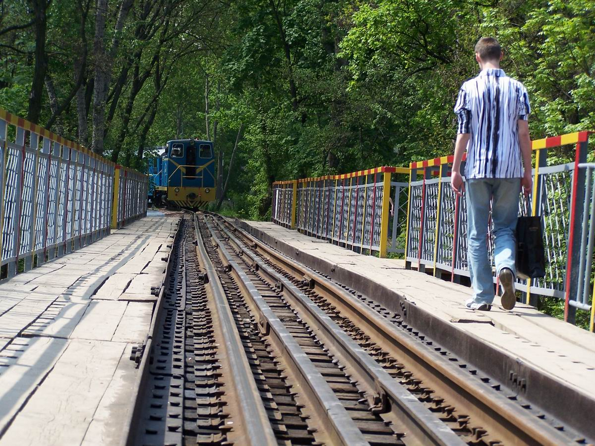 Поїзд на підході до моста