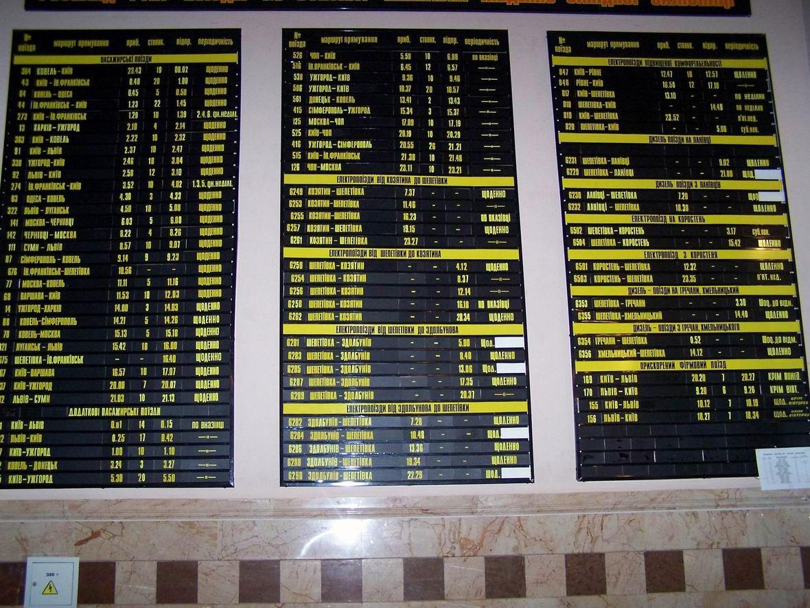 Розклад руху поїздів на ст. Шепетівка