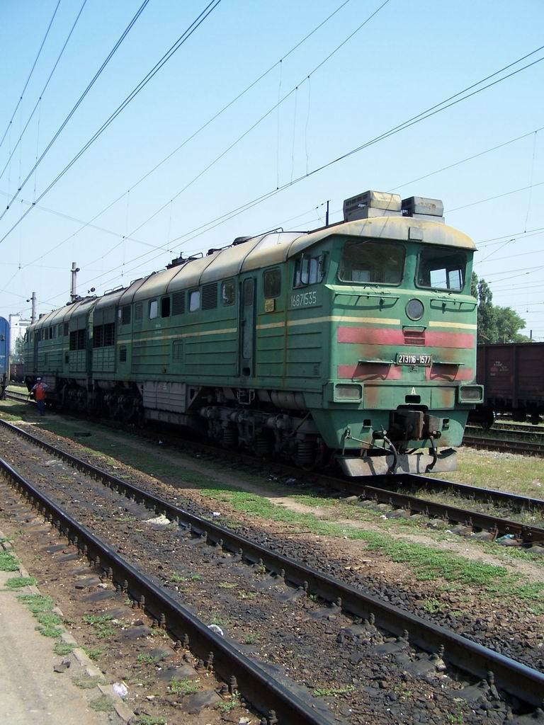 2ТЕ116-1577 на ст. Джанкой, АР Крим