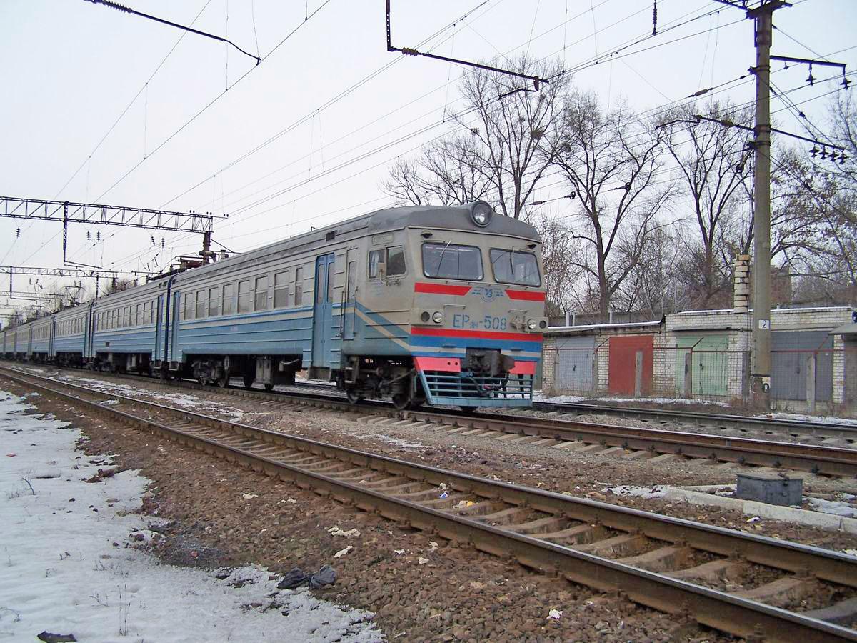 Електропоїзд ЕР9М-508, перегон Київ-Товарний - Київ-Московський