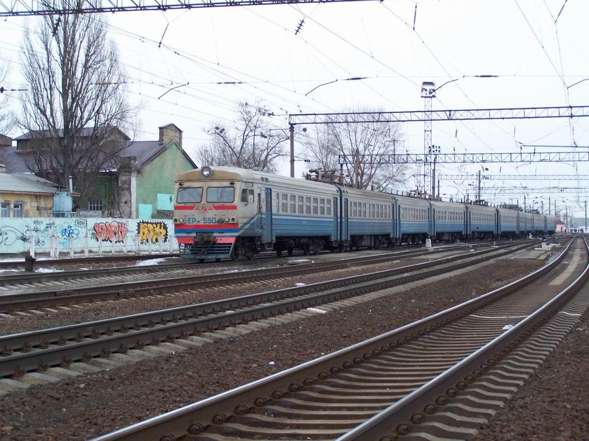 Електропоїзд ЕР9М-550, північна горловина ст. Київ-Московський