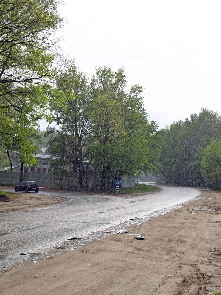 Околиця Києва під час зливи