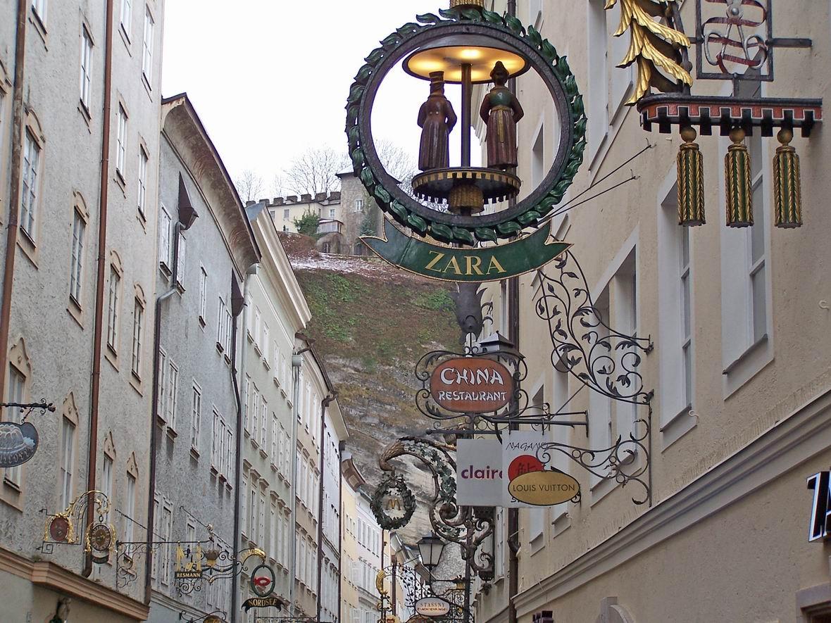 Гетрайдегассе, центральна вулиця Зальцбурга, Австрія
