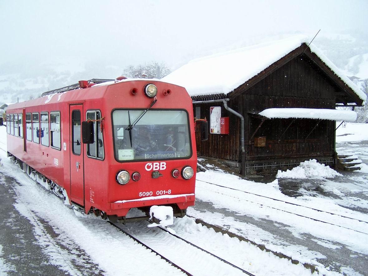 Рейковий автобус 5090.001-8, ст. Уттендорф-Штубахталь вузькоколійної дороги Пінцгау, Австрія
