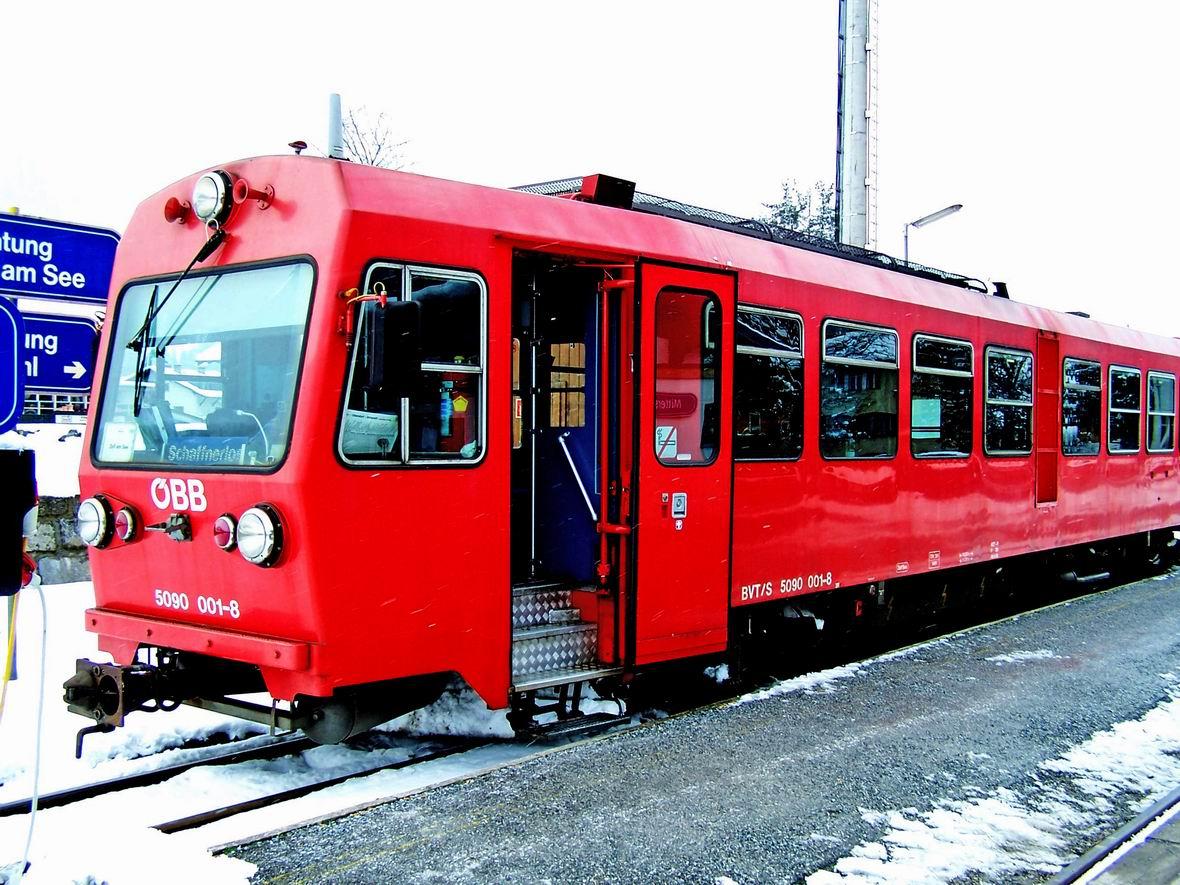 Рейковий автобус 5090.001-8, ст. Міттерсілль вузькоколійної дороги Пінцгау, Австрія