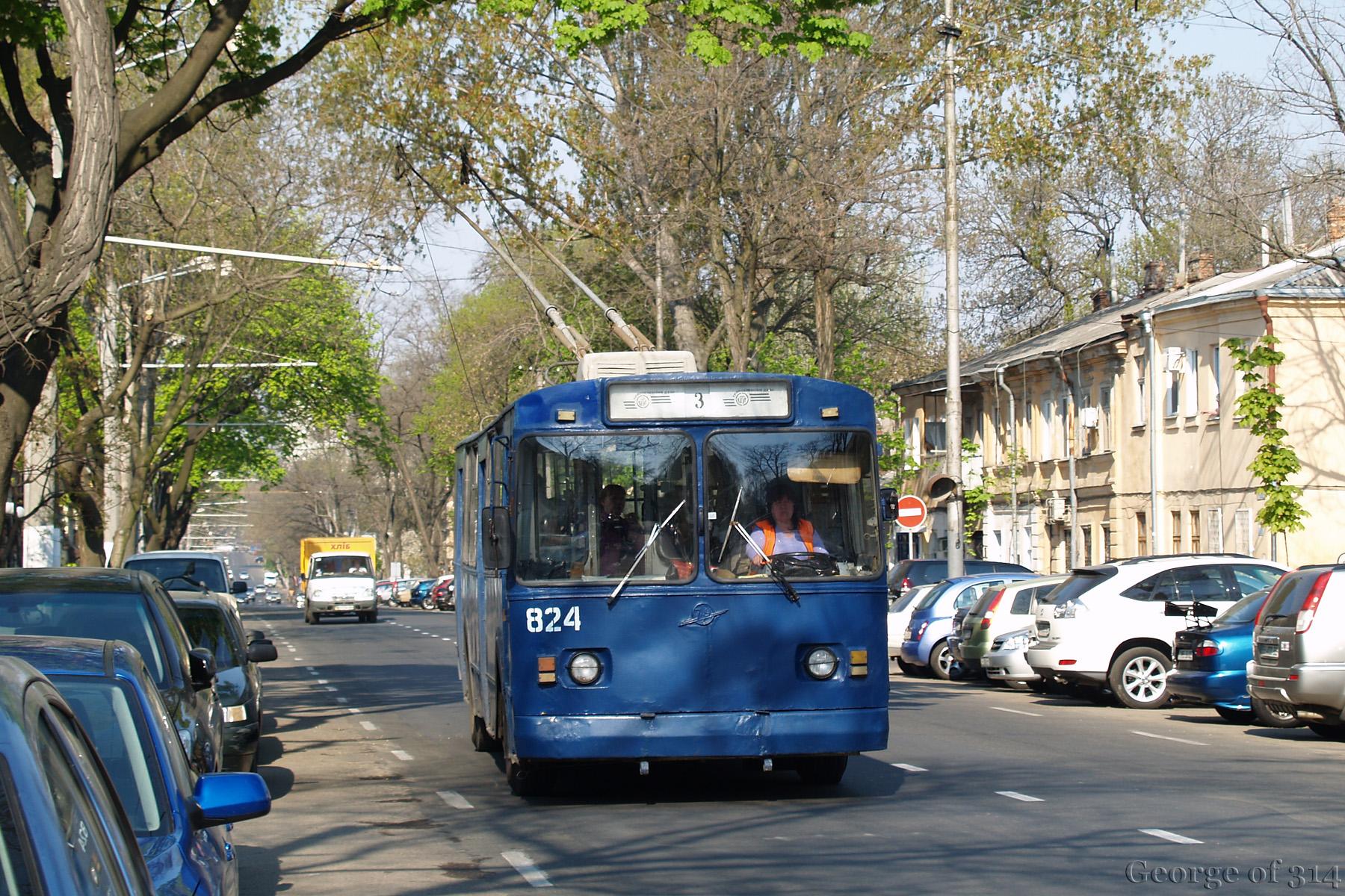 Тролейбус ЗиУ-682В [В00] №824, маршрут №3, Мала Арнаутська вул., Одеса